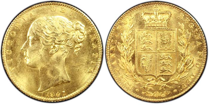 1841 Great Britain Sovereign MS65